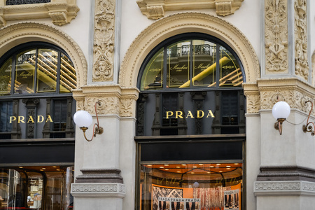 Milan, Italy - September 24, 2017:  Prada store in Milan. Fashion week Prada shopping Editorial