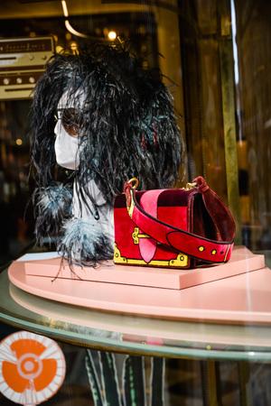 Milan, Italy - September 24, 2017:  Prada store in Milan. Fashion week Prada shopping Editorial
