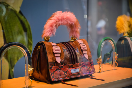 Milan, Italy - September 24, 2017:  Prada bag in a Milan store Editorial