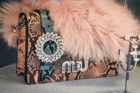 Milan, Italy - September 24, 2017:  Miu Miu bag in a store in Milan Editorial