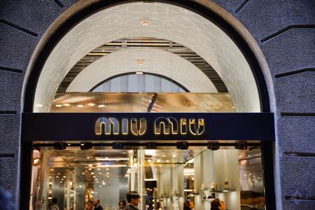 Milan, Italy - September 24, 2017:  Miu Miu store in Milan. Fashion week Miu Miu shopping Editorial