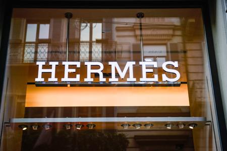 Milan, Italy - September 24, 2017:  Hermes store in Milan. Fashion week Hermes shopping Éditoriale
