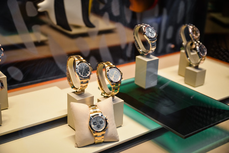 Milan, Italy - September 24, 2017:  Rolex watches in a store in Milan. Fashion week Rolex shopping Editorial