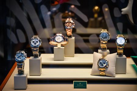 Milan, Italy - September 24, 2017:  Rolex store in Milan. Fashion week Rolex shopping
