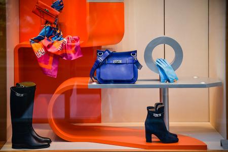 Milan, Italy - September 24, 2017:  Hermes store in Milan. Fashion week Hermes shopping 에디토리얼