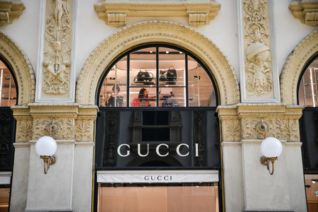 Milan, Italy - September 24, 2017:  Gucci store in Milan. Fashion week Gucci shopping Editorial