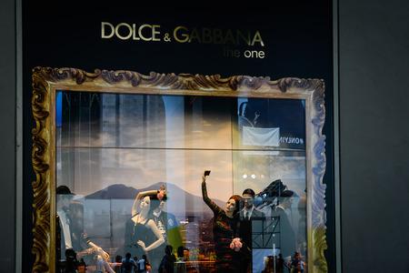 Milan, Italy - September 24, 2017:  Dolce Gabbana store in Milan. Fashion week Dolce Gabbana shopping