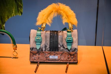 Milan, Italy - September 24, 2017:  Prada bag in a Milan store Editorial
