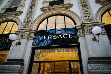 Milan, Italy - September 24, 2017:  Versace store in Milan. Fashion week Versace shopping
