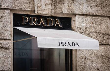 Milan, Italy - February 28, 2017: Shop window of a Prada logo on a Prada store in Milan Editorial