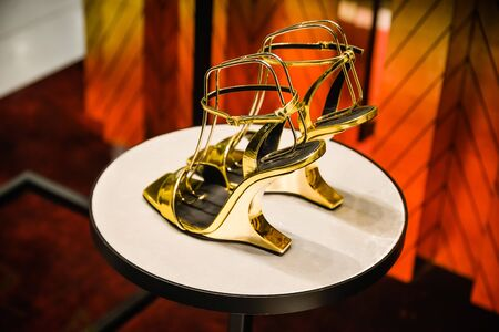 Milan, Italy - September 24, 2017:  Zanotti shoes in a store in Milan. Fashion week Zanotti shopping Editorial