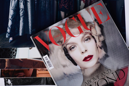 Milan, Italy - February 27, 2017: Italian Vogue magazines. Vogue one of most important fashion magazines. Archivio Fotografico - 93827741