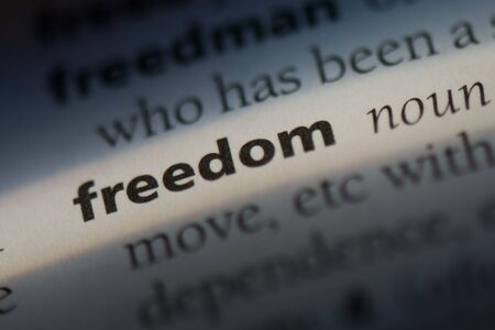 Freedom word in a dictionary. Freedom concept Stock Photo