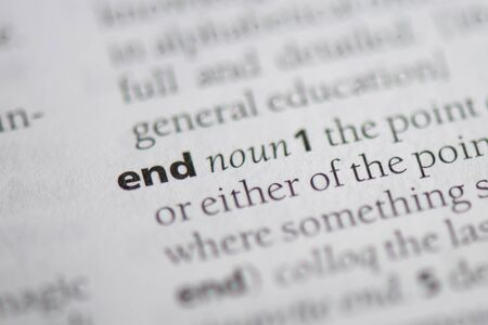 End word in a dictionary. End concept