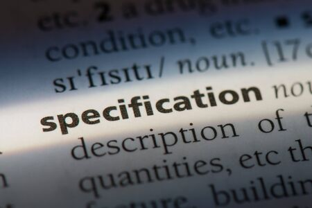specification word in a dictionary. specification concept