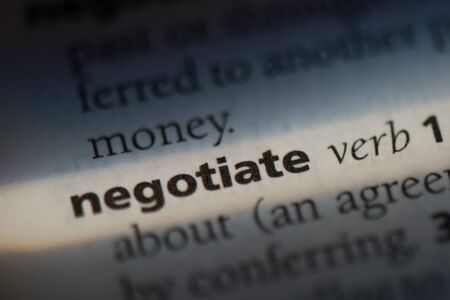 negotiate word in a dictionary. negotiation concept