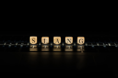 Slang word on wooden cubes. Slang concept