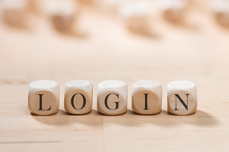 Login word on wooden cubes. Login concept Stock Photo