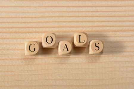 Goals word on wooden cubes. Goals concept Stock Photo