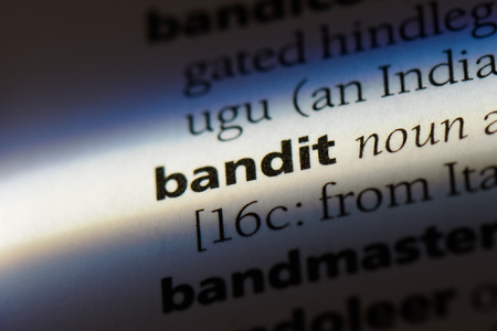bandit word in a dictionary. bandit concept.