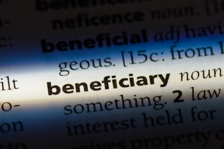 beneficiary word in a dictionary. beneficiary concept. Banque d'images
