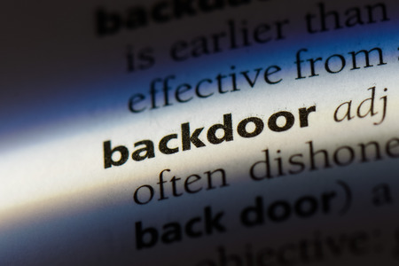 backdoor word in a dictionary. backdoor concept.