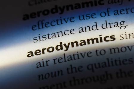 aerodynamics word in a dictionary. aerodynamics concept.