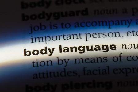 Palabra del lenguaje corporal en un diccionario. concepto de lenguaje corporal