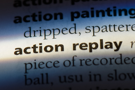 action replay word in a dictionary. action replay concept. 스톡 콘텐츠