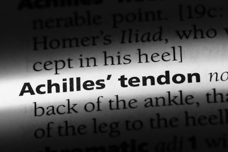 Achilles tendon word in a dictionary. Achilles tendon concept.