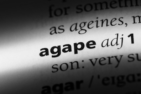 agape word in a dictionary. agape concept.