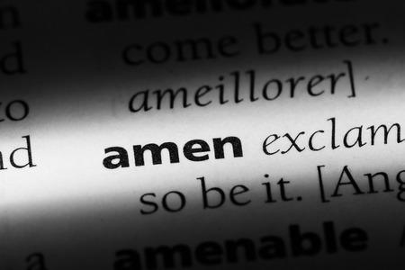 amen word in a dictionary. amen concept. Stok Fotoğraf - 99600078