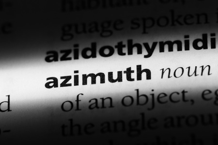 azimuth word in a dictionary. azimuth concept.