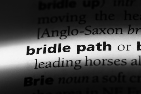 bridle path word in a dictionary. bridle path concept.