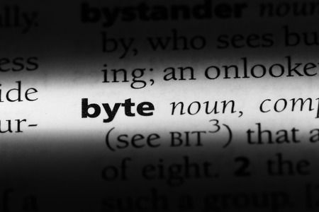 byte word in a dictionary. byte concept.
