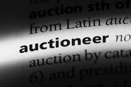 auctioneer word in a dictionary. auctioneer concept.
