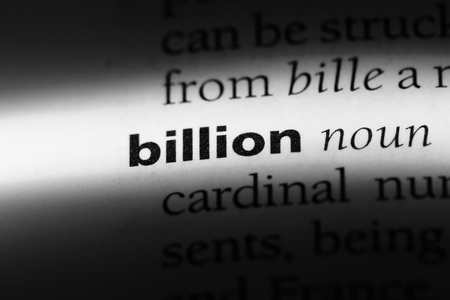 billion word in a dictionary. billion concept. Stockfoto