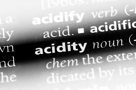 acidity word in a dictionary. acidity concept. Stock Photo