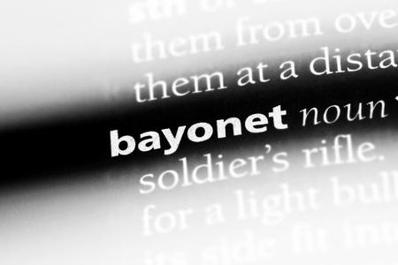 bayonet word in a dictionary. bayonet concept. Stock Photo