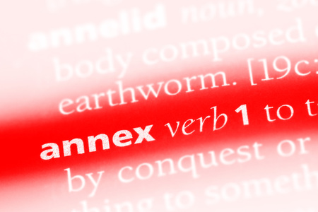 annex word in a dictionary. annex concept.