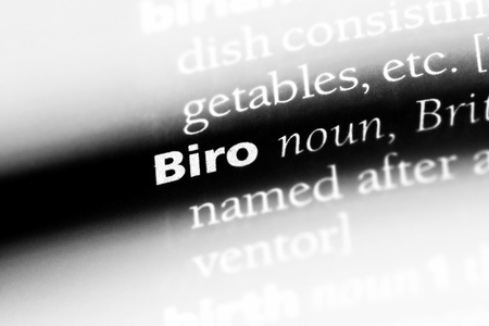 biro word in a dictionary. biro concept.