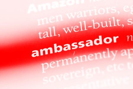 ambassador word in a dictionary. ambassador concept.