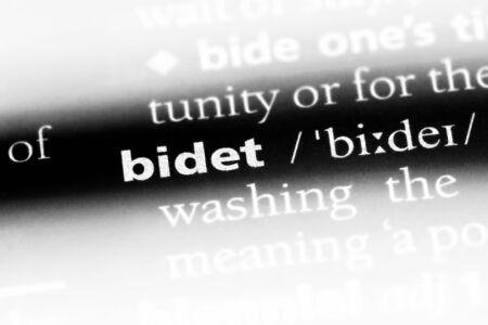 bidet word in a dictionary. bidet concept.