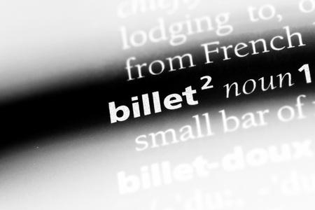billet word in a dictionary. billet concept.