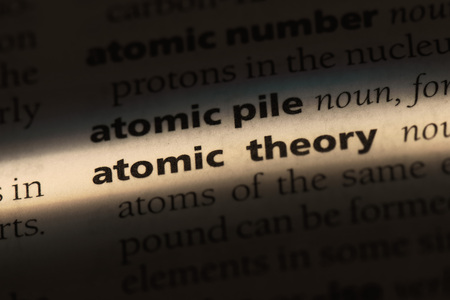 atomic theory word in a dictionary. atomic theory concept.