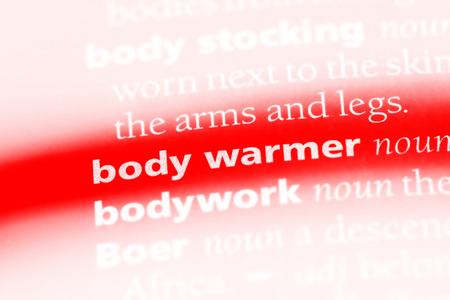 body warmer word in a dictionary. body warmer concept. Stockfoto