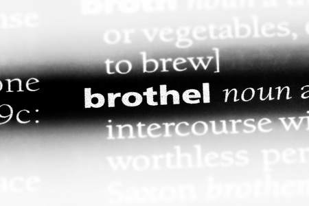 brothel word in a dictionary. brothel concept.