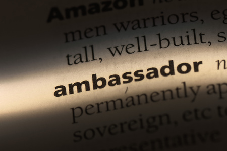 ambassador word in a dictionary. ambassador concept.
