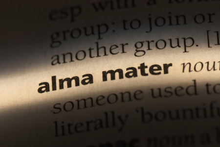 alma mater word in a dictionary. alma mater concept. Stock Photo