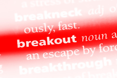 breakout word in a dictionary. breakout concept. Stock Photo